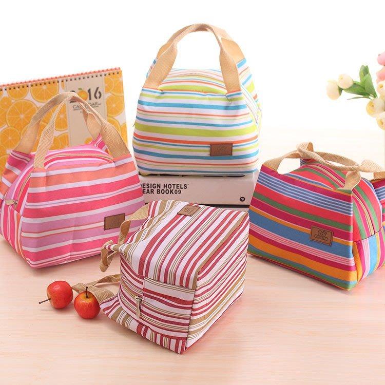 ☆條紋帆布手提包 便當包 保冷保溫包 野餐袋 保溫袋 保冷袋 野餐包☆