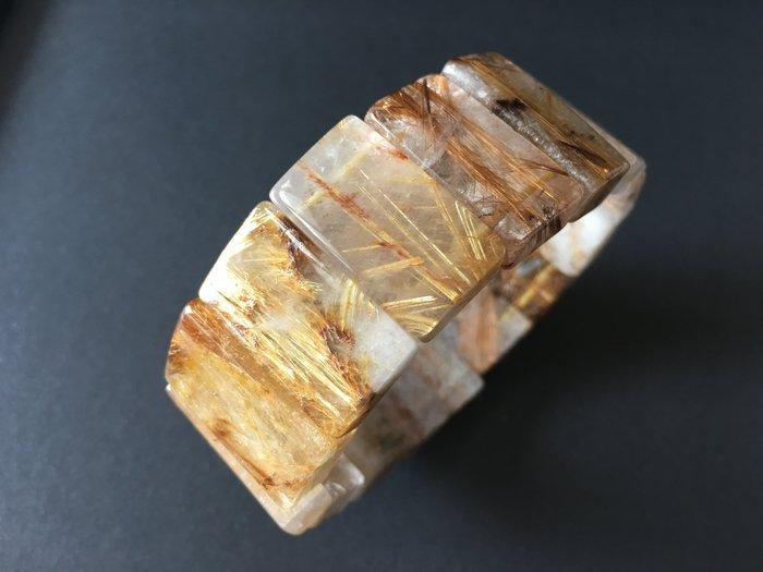 *藏雅軒*能量珠寶水晶之王-帶母礦紅銅鈦鈦晶手排-105g