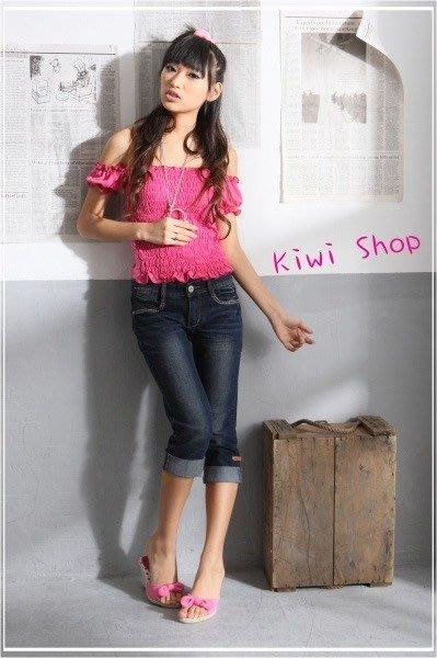 二手Kiwi Shop桃紅色鬆緊後綁帶上衣 短袖 可拉一字領
