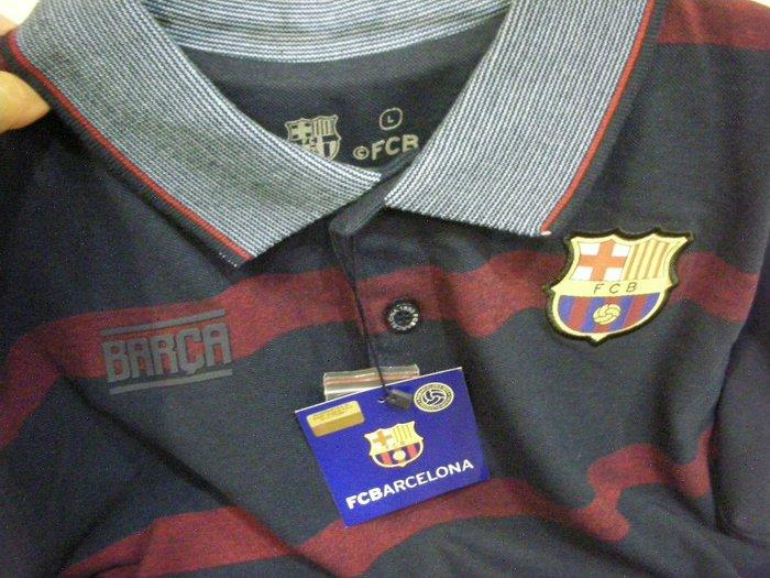 全新西班牙購回巴塞隆納 FCB足球官方標章款柔細彈性網眼深暗藍暗紅寬線寬版舒適鬆緊袖有領具挺度男短袖 POLO 衫上衣