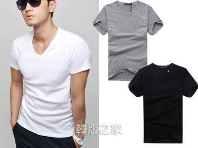 韓版之家純色男士V領短袖打底衫T恤 【A203】