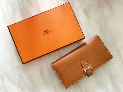 (已售 欣賞)【蜜柑醬】Hermès/Hermes 愛馬仕  bearn wallet 超經典H扣長夾,男女都能用的金色