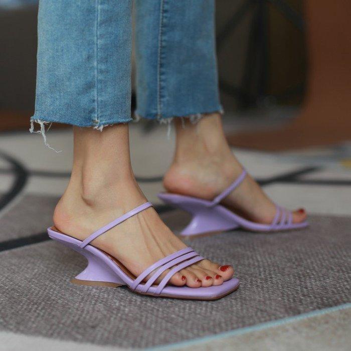 『Alice❤愛麗絲』新款女夏季外穿時尚坡跟涼拖鞋仙女風女鞋高跟大涼皮拖