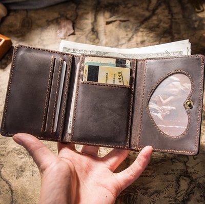 復古迷妳小錢包 頭層牛皮三折多功能錢夾瘋馬皮小巧簡約皮夾子