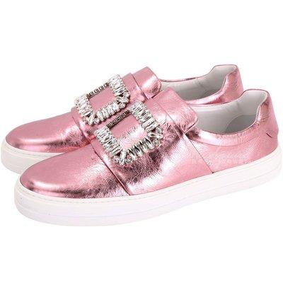米蘭廣場 Roger Vivier Sneaky Viv 水晶方框爆裂紋皮革便鞋(金屬粉) 1710555-05