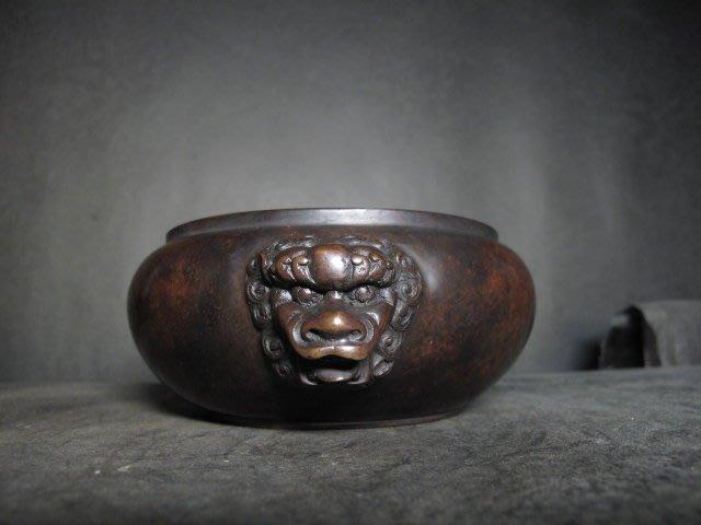 老銅爐 ◎  獅頭 圈足銅香爐【大明宣德年製 款】