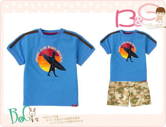 【B& G童裝】正品美國進口GYMBOREE衝浪板圖樣藍色短袖T恤上衣5yrs