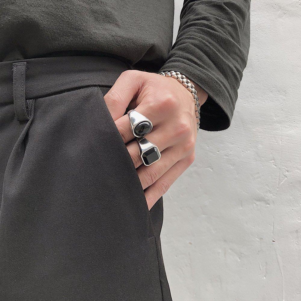 戒指 ZICO同款東大門網紅情侶對戒簡約百搭INS風黑色寶石鈦鋼戒指男女 時尚搬運工