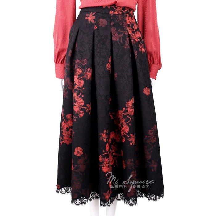 米蘭廣場 CLASS roberto cavalli 黑紅蕾絲抓褶渲染印花中長裙 1710656-01 42號