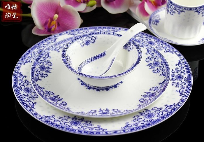 【優上精品】酒店擺台餐具 陶瓷餐具套裝青花瓷藍花高檔盤子碗檯面(Z-P3135)
