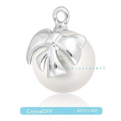 施華洛世奇蝴蝶結珍珠吊墜 #67571 雪白珍珠鍍銠金屬 可作成耳環、項鍊【空運剛到貨】