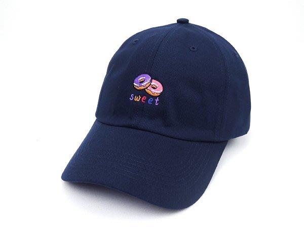 ☆二鹿帽飾☆ (甜甜圈)立體棉質 老帽/流行棒球帽/休閒帽最新帽款/帽簷 7.5cm-藍色