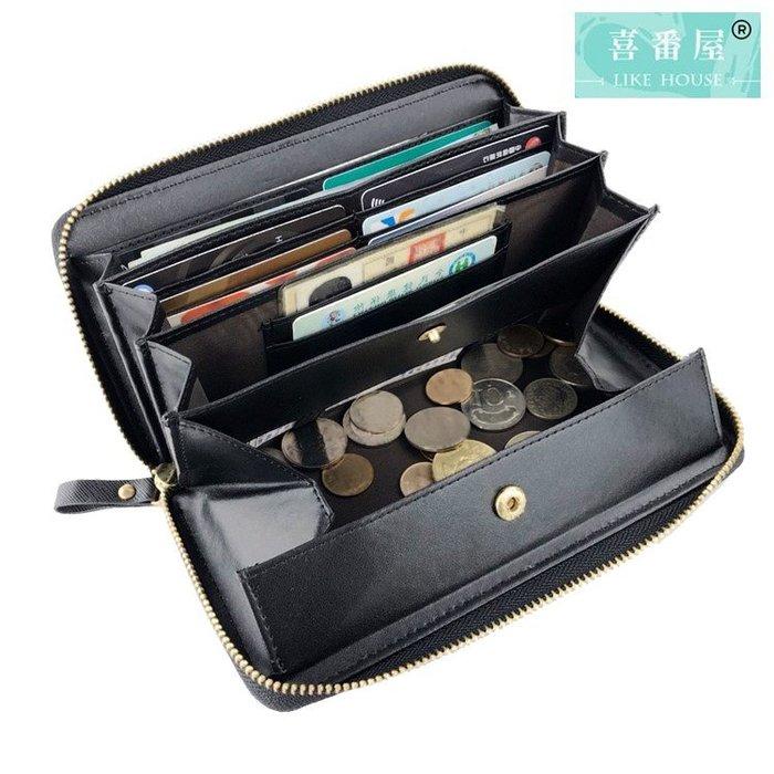 【喜番屋】真皮十字紋牛皮日本熱銷款自動分離零錢女士皮夾皮包錢夾錢包長夾女夾【LH577】