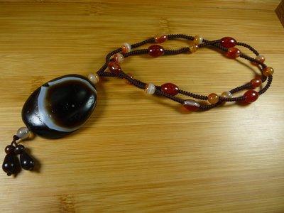 【珠添神聖】風化藥師珠礦 魯密 羊眼板珠綁金剛結項鍊~直購免運送檀香油絨布袋~2