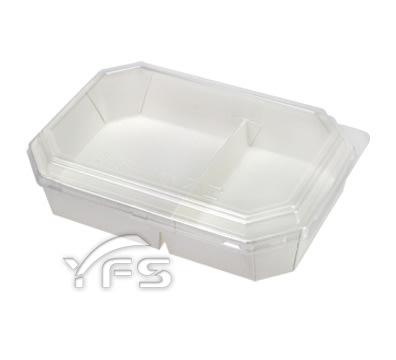 八角雙格紙餐盒(OPS蓋) (點心 外帶 外食 自助餐 紙製)