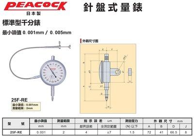 PEACOCK 針盤式量錶 針盤式量表 25F-RE