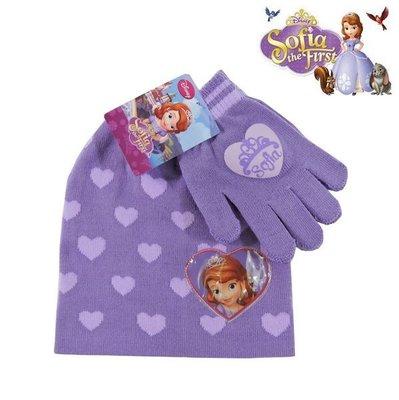 出口歐洲Sofia The First 蘇菲亞公主紫底紫愛心款針織無棉絮毛線帽+手套組(3~6歲適用)禦寒專用~