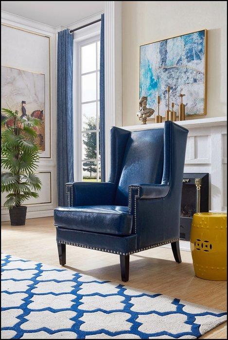 美式鄉村風 藍色復古皮革鉚釘單人沙發椅主人椅 現代簡約風老虎椅老人逍遙椅公婆椅可配1桌兩椅休閒椅躺椅午睡椅【歐舍傢居】