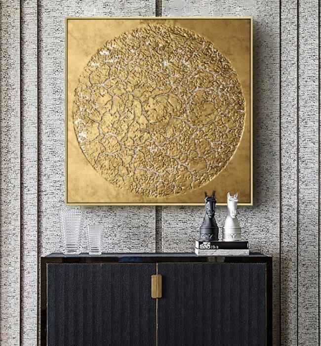 ABOUT。R 美式奢華風格立體質感掛畫壁畫裝飾畫客廳玄關餐廳臥室時尚金色大氣高檔藝術設計師掛畫鋁合金框掛畫(7款可選)