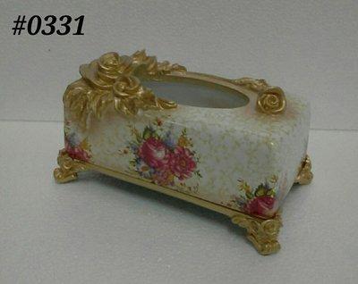 美生活館--- 全新 古典 高溫陶 長方型 金色仿舊雕刻 玫瑰花 花朵 面紙盒/收納盒