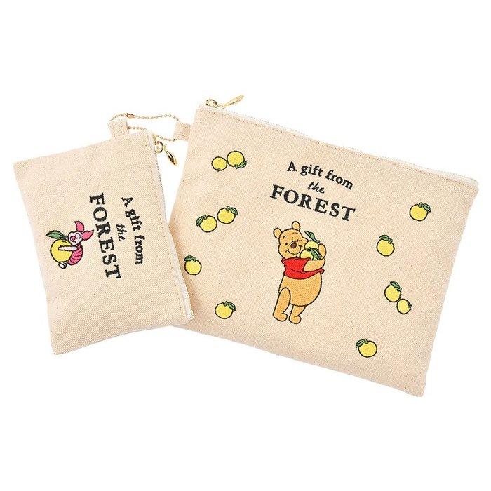 《FOS》2019新款 日本 迪士尼 維尼 小豬 二件組 收納包 化妝包 錢包 帆布包 Disney 可愛 限量 熱銷