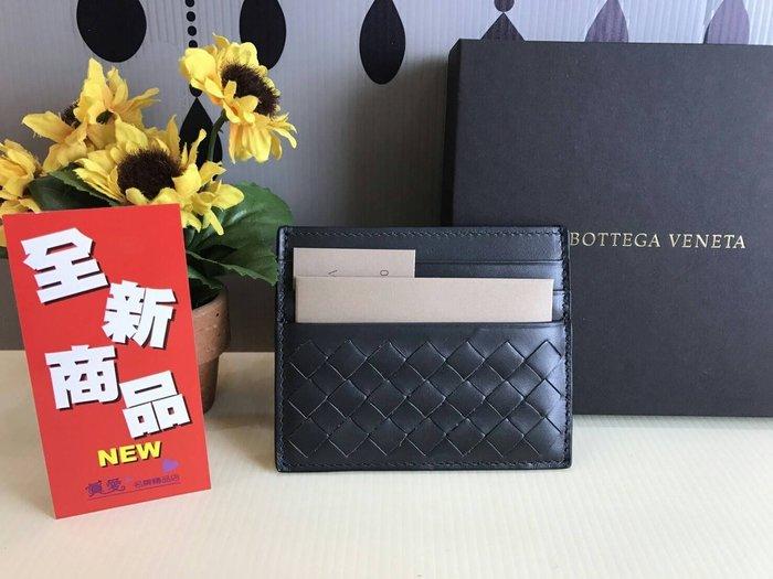 《真愛名牌精品》Bottega Veneta (BV) 162150 深灰色編織 薄度 名片夾/卡片夾*全新*