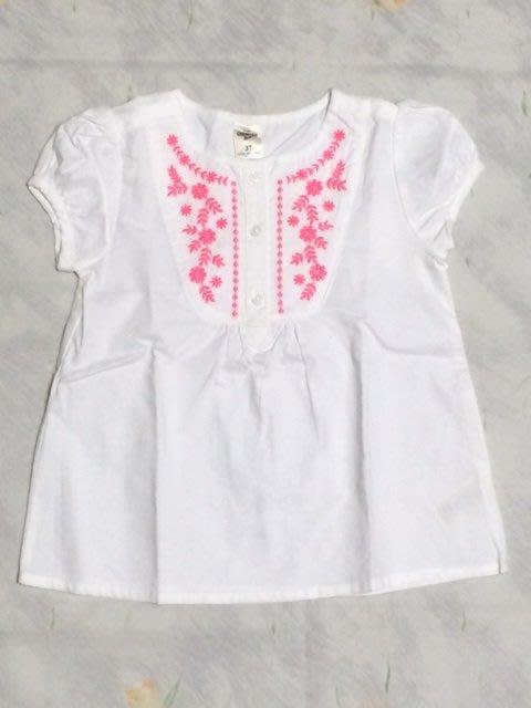 《Cupio》現貨童裝 OshKosh Embroidered Peasant Top 可愛繡花短袖上衣(3y)