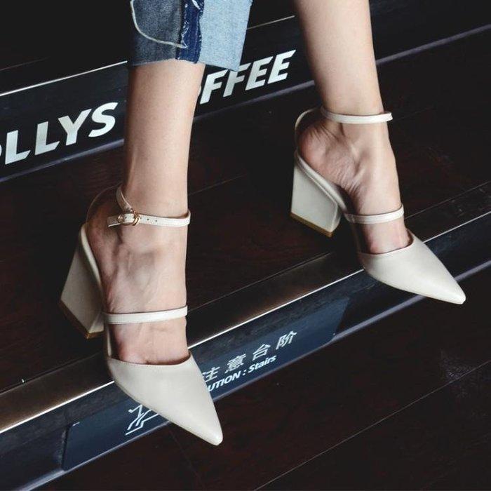 真皮 涼鞋 拖鞋 夏季新款包頭粗跟白色真皮高跟鞋一字扣尖頭小清新33碼女 WN8 5406