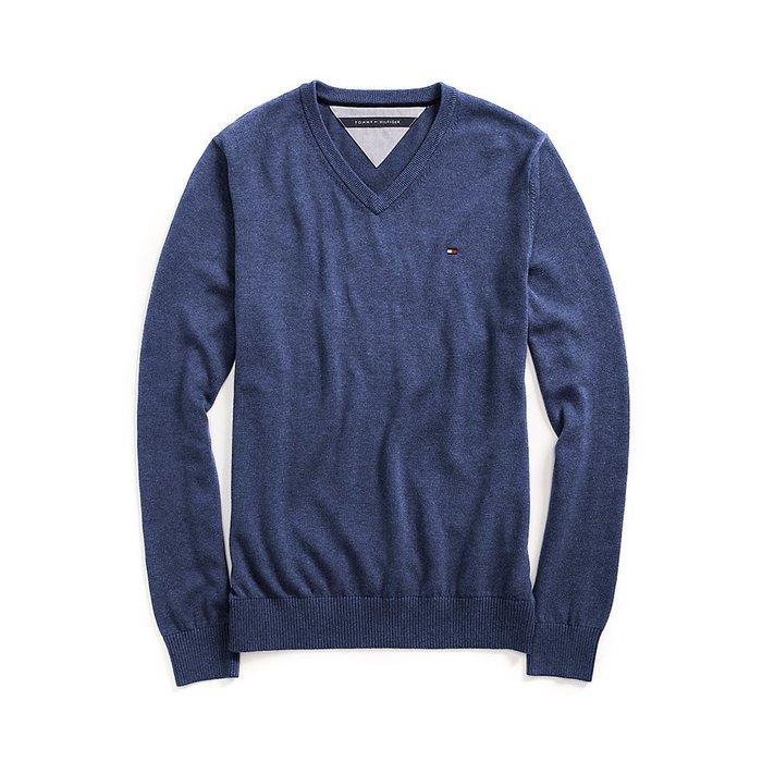 美國百分百【全新真品】Tommy Hilfiger V領 素面 TH 純棉毛衣 針織衫 上衣 暗藍 S M號 B606