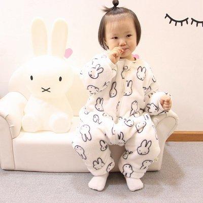 【蘑菇小隊】秋冬季嬰兒童法蘭絨兔子睡袋寶寶加絨加厚雙層連體睡衣爬服家居服--免運費