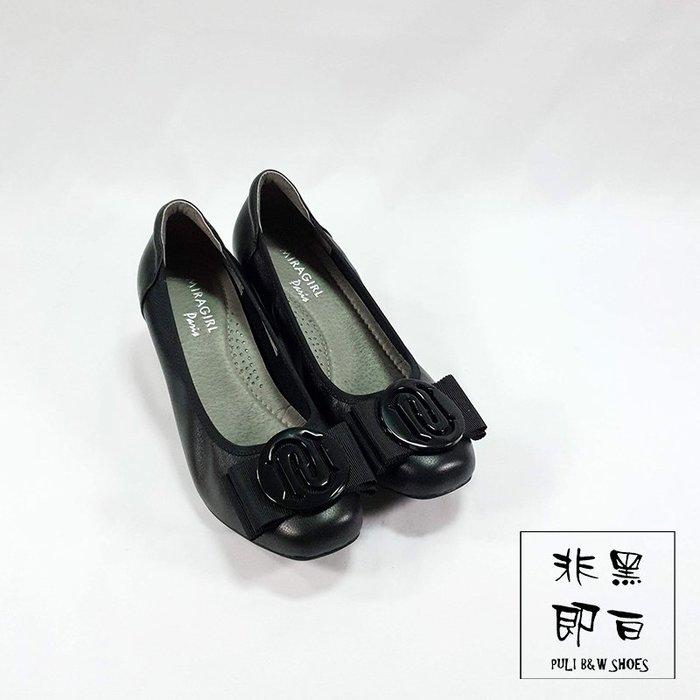 【非黑即白】韓系女伶上班OL高跟鞋 包鞋 娃娃鞋 黑色 329803