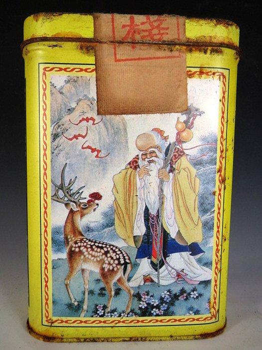【 金王記拍寶網 】P1543  早期懷舊風中國億興合茶棧 福祿壽翁圖 老鐵盒裝普洱茶 諸品名茶一罐 罕見稀少~