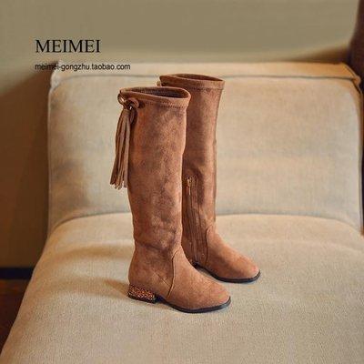 女童靴子高筒公主單靴英倫風復古兒童長靴時尚高筒靴
