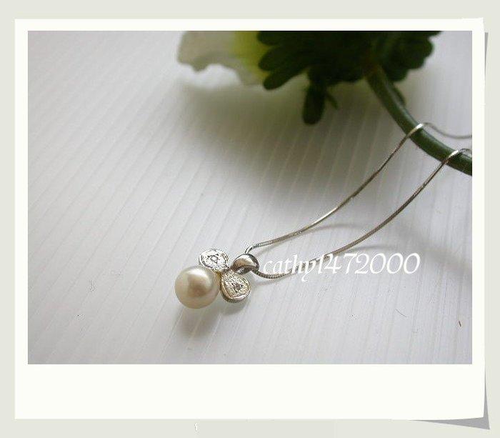 。☆凱希小舖☆。♥禮物♥5折 日本珍珠 白k墜子(鑲鑽石)no.9941