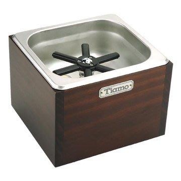 TIAMO 洗杯器渣桶附木盒(中) *BC2408 櫻桃木色 Espresso 咖啡配件.不鏽鋼堅固耐用.操作簡易
