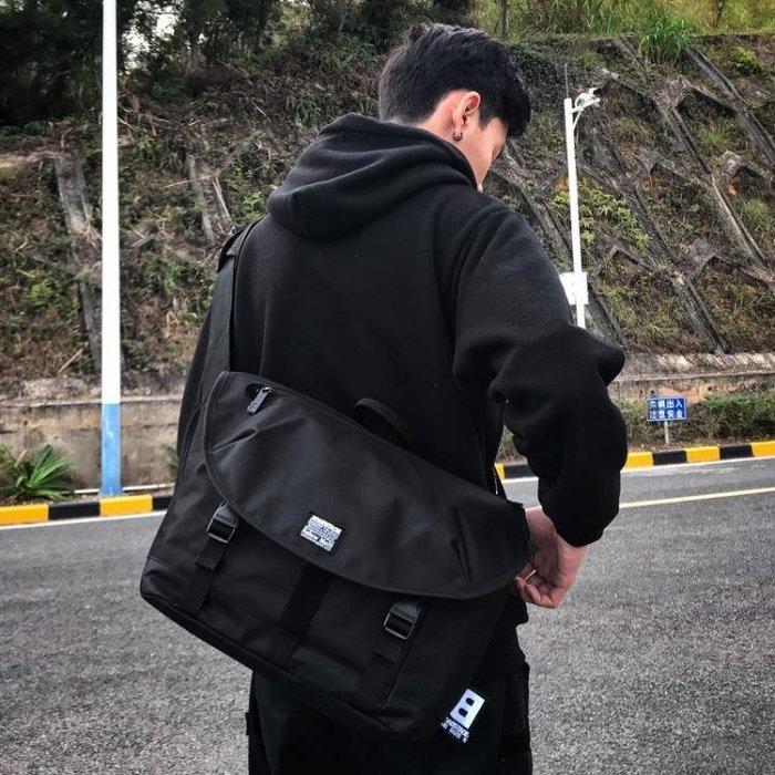 潮牌街頭潮流死飛郵差包男運動包韓版學生書包原宿風手提斜背背包