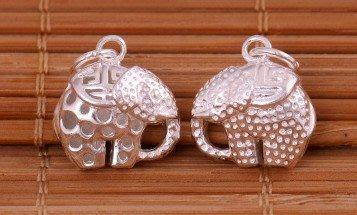 「還願佛牌」泰國 進口 925 純銀 足銀 配件 DIY 材料 立體 吉祥紋 長鼻象 吊飾 象