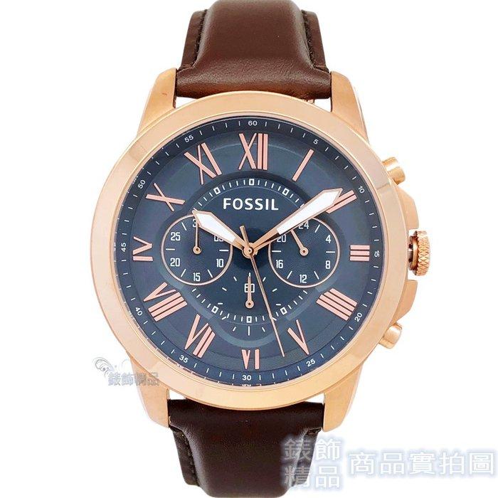FOSSIL 手錶 FS5068 IE 灰藍面 玫金框 咖啡色錶帶 44mm 男錶【錶飾精品】