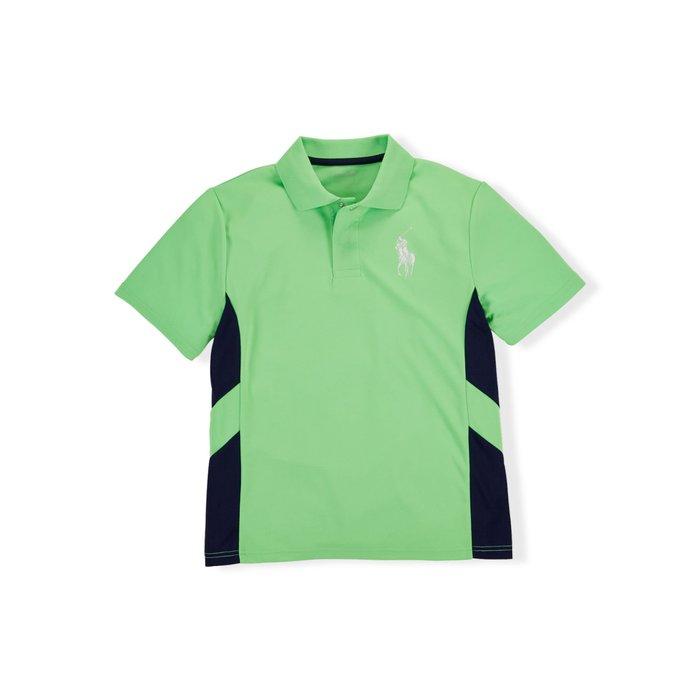 全新美國Ralph Lauren Polo SPORT 草綠色排汗大馬短袖運動polo衫 大童L