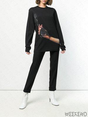 【WEEKEND】 YANG LI Cigarette 印圖 寬鬆 長袖 衛衣 大學T 黑色