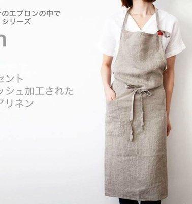 [潮開店]日式亞麻工作圍裙 咖啡廳 美...