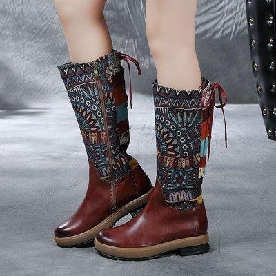 民族風繡花真皮高筒靴 頭層牛皮真皮長靴 大碼