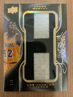 2009 UD BLACK HOF JAMES WORTHY AUTO PATCH 簽 /5 one of one 尾編