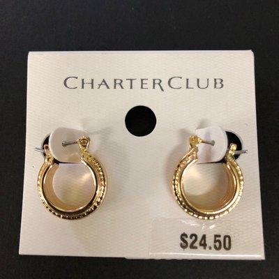 Charter Club stud Earrings gold color 金色高質量 耳環 全新 耳針 復古上班派對 fashion jewellery 飾物