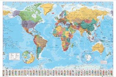海報專賣店 FL0340 大型世界地圖(100*140cm)+框(含海報防水處理)