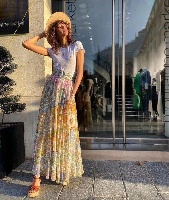 重量級 法式優雅時尚浪漫風格品牌 Zimmerman 美~美~美翻天的極品蠶絲腰帶長裙