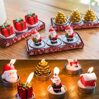 節慶用品聖誕節卡通蠟燭 創意節日派對裝飾品 聖誕老人小禮物禮品