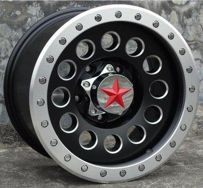 RED STAR品牌4X4精品JIMNY吉米專用鋁圈16吋5孔139.7 8J ET0中心孔110黑車邊