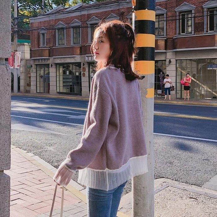 港風毛衣外套女秋復古秋裝新款寬鬆韓版學生拼接短款針織開衫