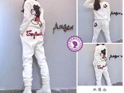 XL白# 休閒運動二件套裝 米奇款 休閒套裝 運動套裝 內裏絨